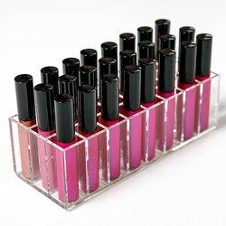 Acrílico labial gloss container 24 treliça batom organizador maquiagem unha polonês caixa de armazenamento cosméticos exibição rack batom titular