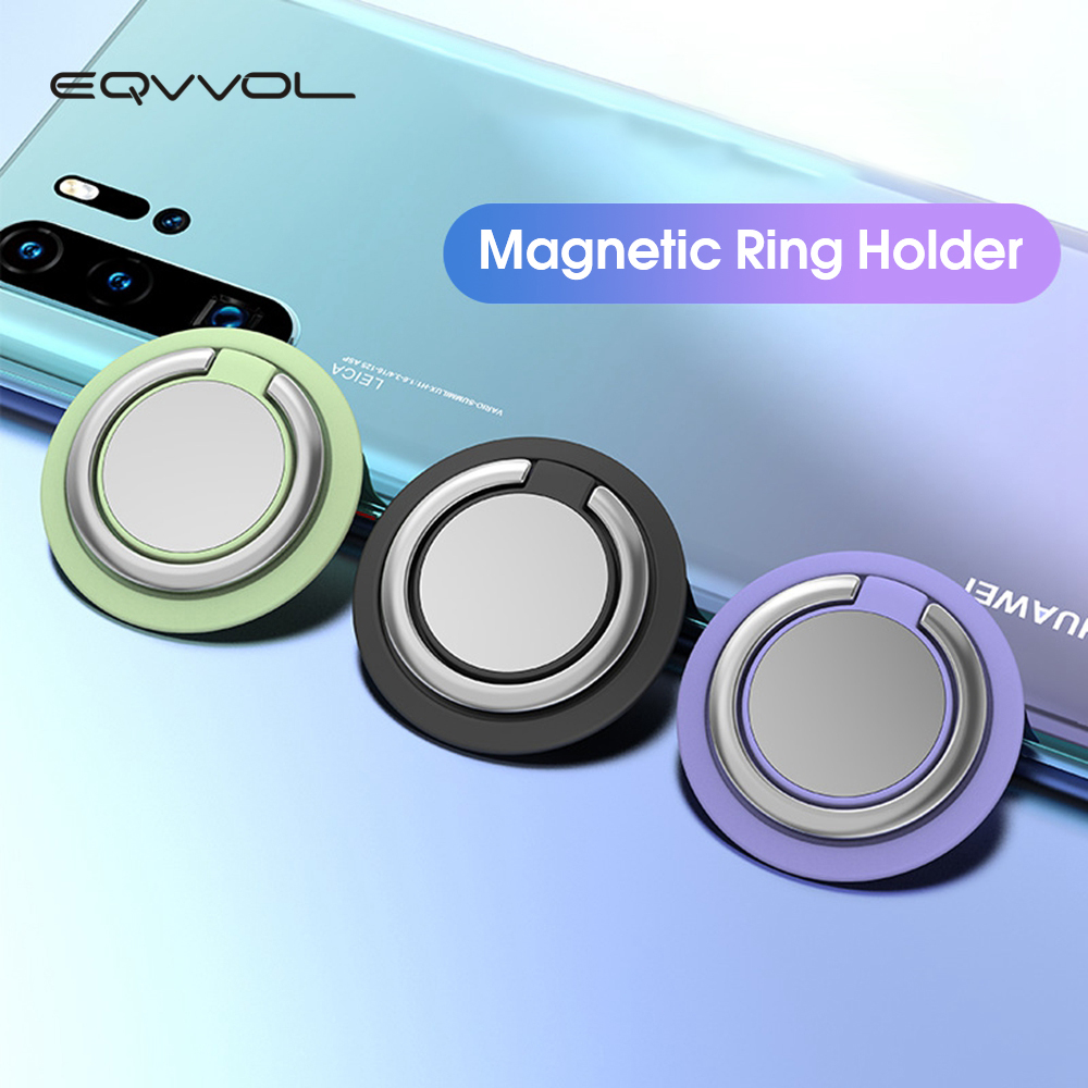 Eqvvol Universal Finger Ring Phone Holder 360 Degree Rotation Bracket For IPhone 11 Samsung Car Magnetic Metal Smartphone Stand