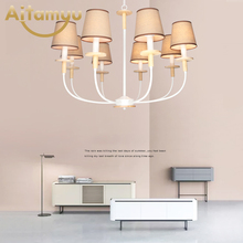 Nordic LED Chandelier With Fabric Lampshade For Living Room Chandeliers Lighting Modern White Hanging Light Bedroom