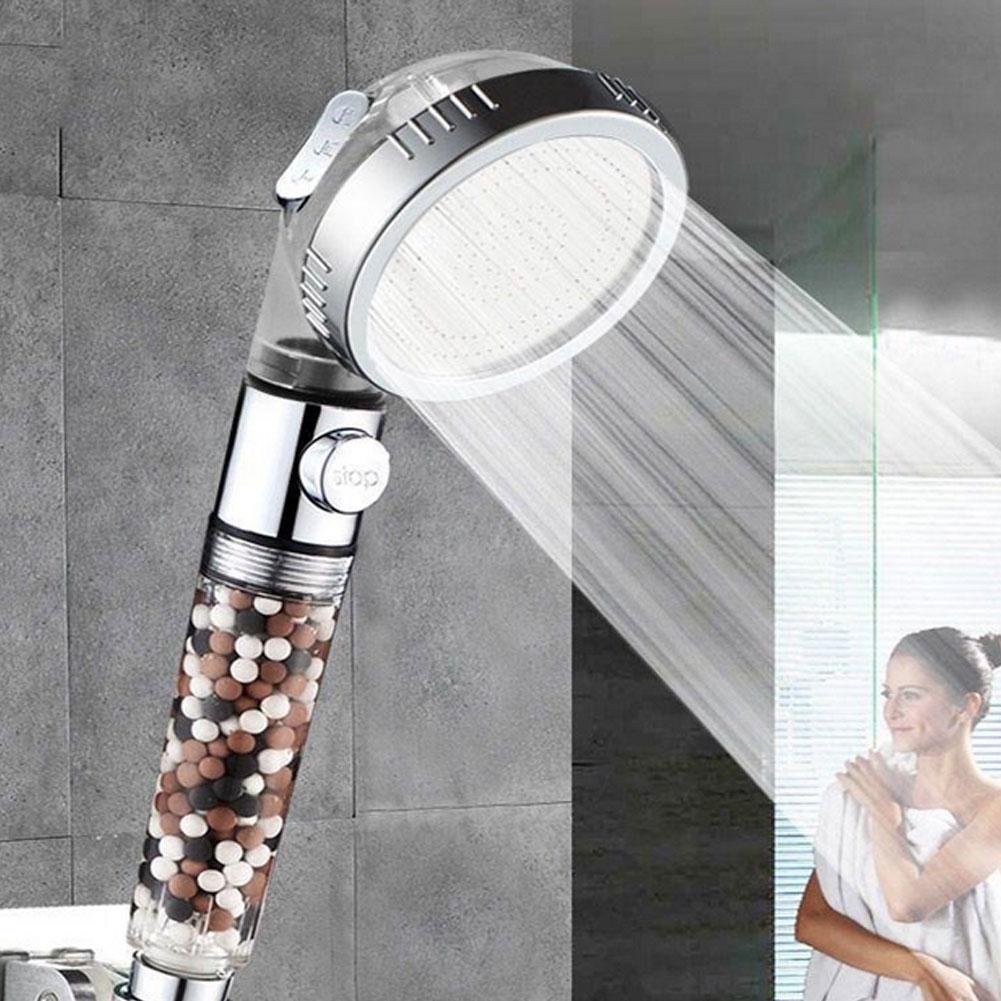 Cabeça de chuveiro dos termas da função do banheiro 3 com interruptor de ligar/desligar botão anion filtro de alta pressão cabeça de banho cabeças de chuveiro de poupança de água