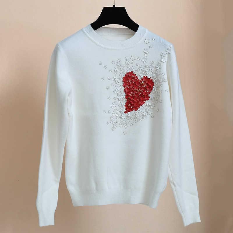 Camisola feminina coração miçangas flor de couro amor jumper bodycon jérsei magro manga longa pullovers de malha superior doce