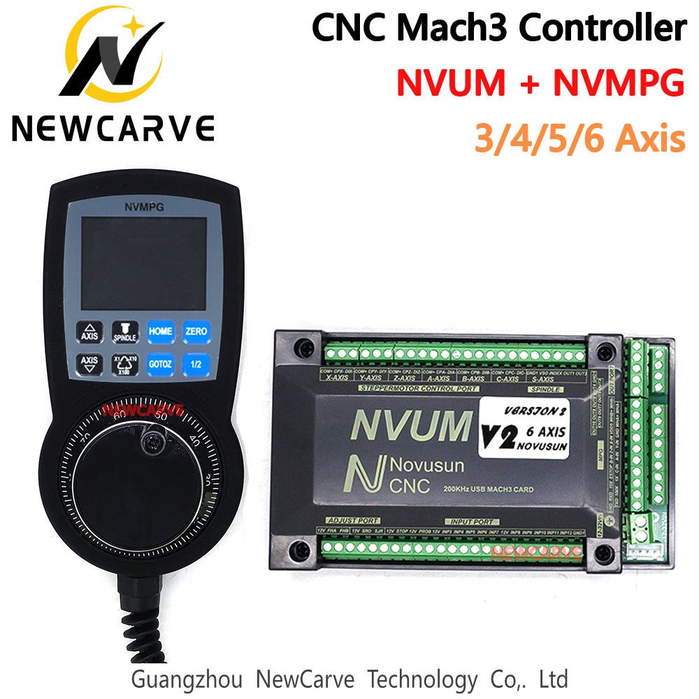 CNC Mach3 Set NVUM USB Breakout Board + NVMPG Mach3 Handwheel With LCD Display 6 Axis MPG For DIY CNC Router NEWCARVE