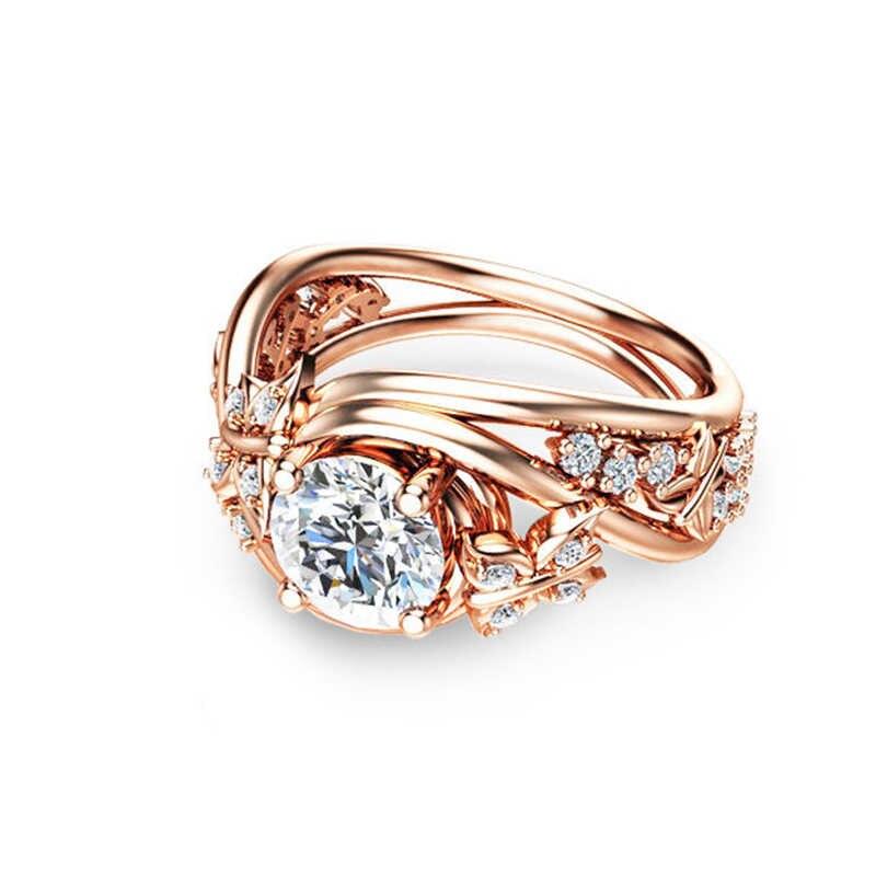 Cpop novo na moda borboleta ouro zircon anel de casamento rosa flor geométrica luxo noivado festa anel feminino jóias acessórios