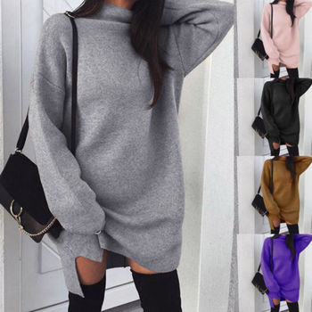 Autumn Winter Warm Long Sleeve Women Knitted Slit Sweater Dress White Turtleneck Sweaters Pullover Jumper Female Clothes autumn winter turtleneck knitted warm sweaters women new lantern sleeve side slit jumper pullover solid casual loose sweater top