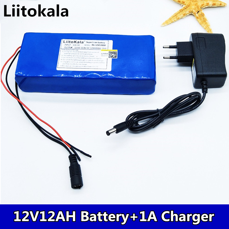 Liitokala <font><b>12V</b></font> <font><b>12ah</b></font> <font><b>battery</b></font> Camera rechargeable <font><b>lithium</b></font> <font><b>ion</b></font> <font><b>battery</b></font> charger, BMS bicycle charger and charger image