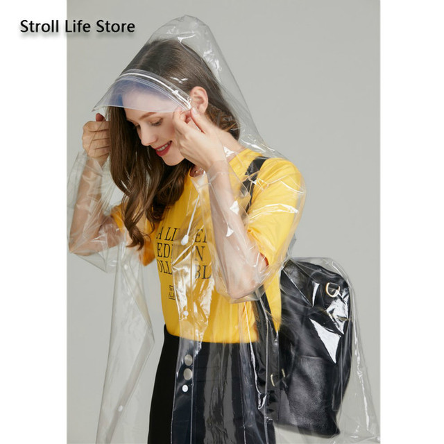 Clear Adult Raincoat Women Hiking Long Rain Coat Plastic Suit Transparent Poncho Electric Car Woman Jacket Impermeable Rain Gear