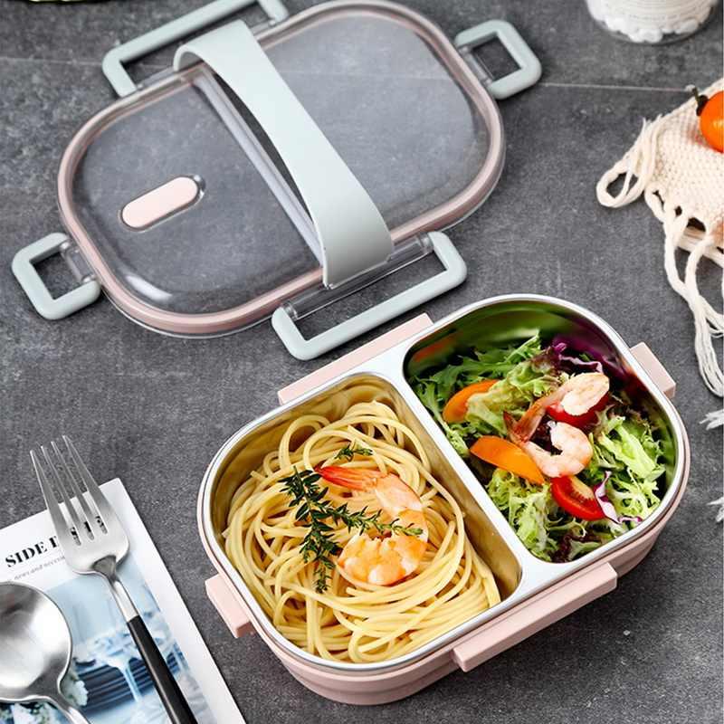 อาหารแบบพกพากล่องอาหารกลางวัน Bento สแตนเลสกล่องอาหารกลางวัน LeakProof พร้อมช่องสำหรับโรงเรียนเด็กบนโต๊ะอาหาร