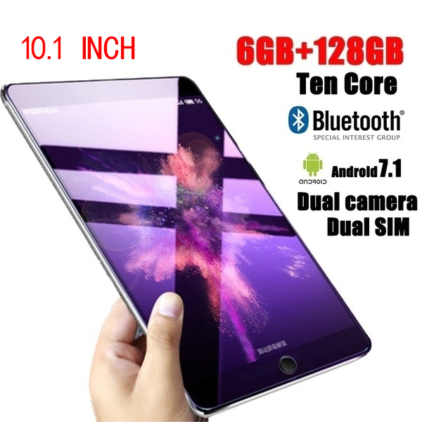 New Tablet 10.1 Inch Ten Core 6G+16G/64G/128G Android 8.0 WiFi Tablet PC Dual SIM Dual Camera  Bluetooth  4G WiFi Call Phone