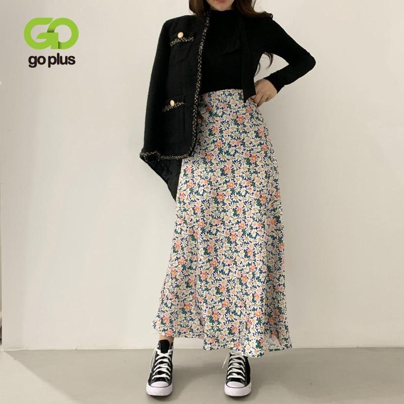 GOPLUS Summer Women's Skirt Korean Style Floral High Waist A-Line Skirts Womens Ropa Mujer Jupe Femme Faldas Mujer Moda 2020