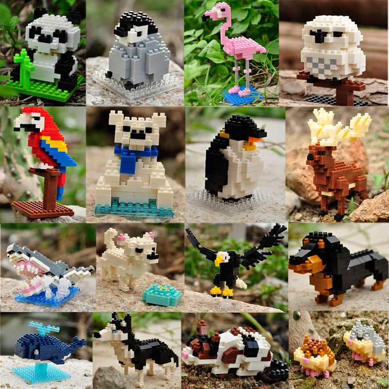 Mini Building Blocks 3D Animal  Diamond Model Micro Bricks Dog Cat Bird Moose Wolf Panda Macaw Toys For Children Birthday Gifts