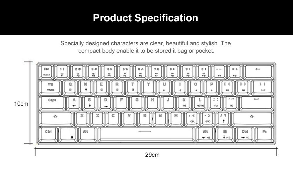 Motospeed ck62 teclado com fioteclado bluetooth modo