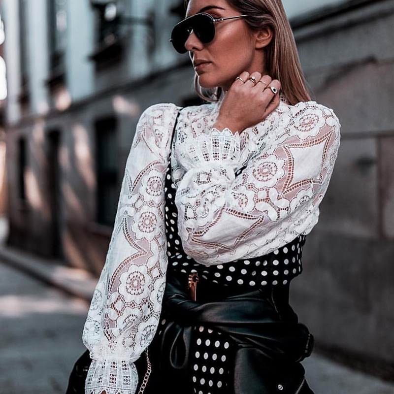 Women Sexy Hollow Out Stand Collar Lace Blouse Office Ladies Long Sleeve Solid Blouse And Tops 2019 Autumn Casual Elegant Shirt
