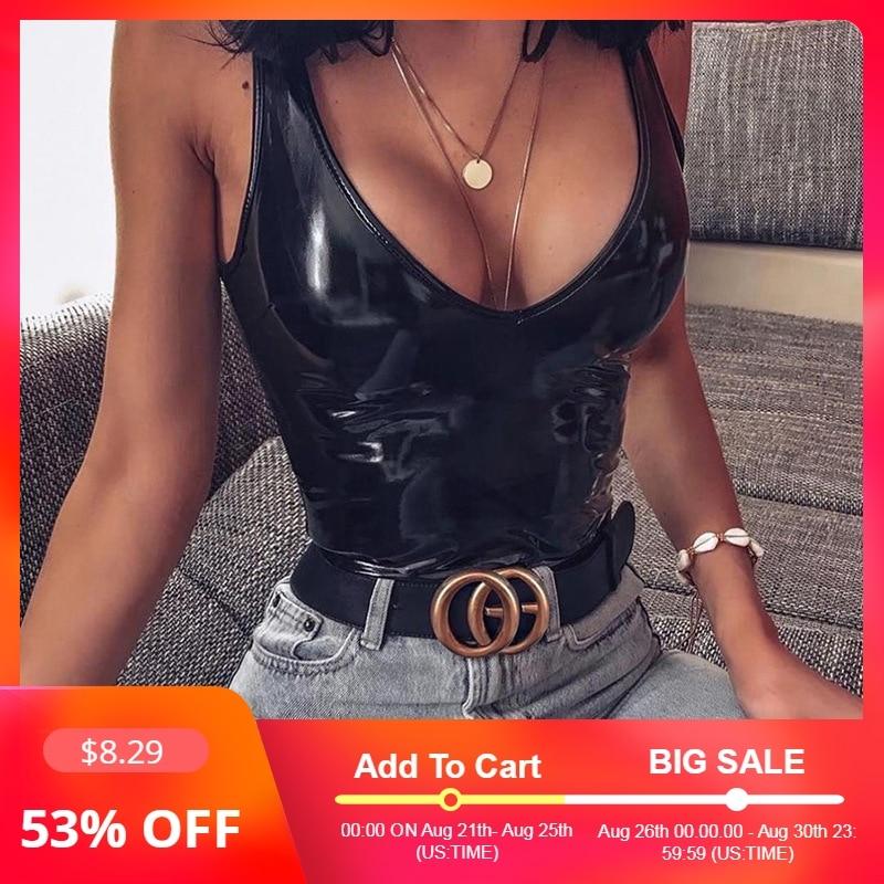 Ellolace Leather Black Bodysuit Women Female 2019 V-Neck Backless   Jumpsuit   Sexy Bodycon Bodys Summer Pu Black Bodysuits Female