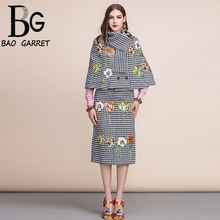 Baogarret Autumn Winter Womens Suits Retro Houndstooth Jackets and Office Lady Vintage Midi Skirts Two Pieces Sets  2019