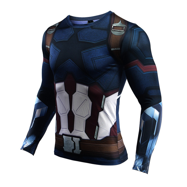 Avengers 3 Captain America 3D T shirts Men Compression Shirts Long Sleeve Cosplay Costume Fitness tshirt Workout Tops Male