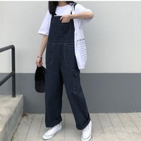 Korean Style Long Pocket Overalls Vintage Blue Denim Jumpsuit Womens Straight Loose Jeans Rompers