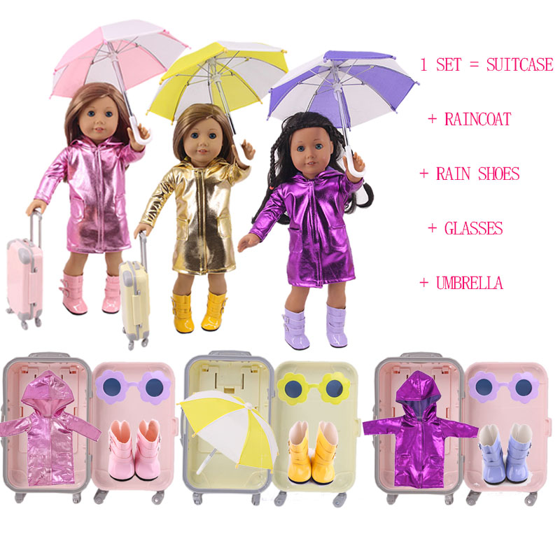 Doll Raincoat Rain Boots Umbrella Glasses Trunk Set Fit 18 Inch American Doll&43 Cm Baby Doll Clothes,Our Generation,Girl`s Toy(China)