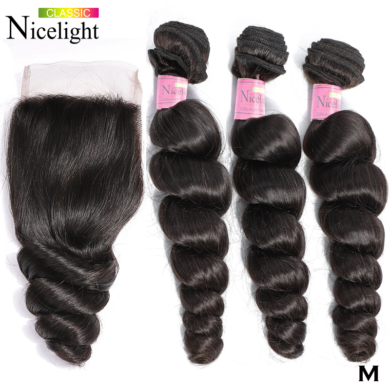 Nicelight 4 Pcs/lot Malaysian Human Hair Short Bundle With Closure Non-Remy Hair Extensio LooseWave 4x4Lace Closure With Bundles