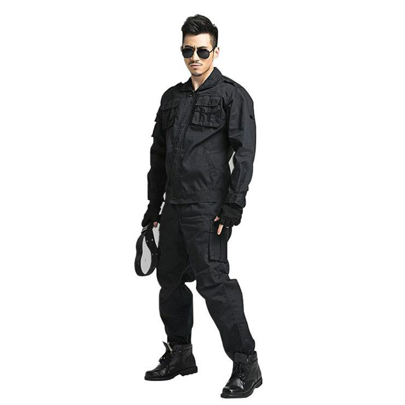 Work Clothing Male Uniform Long Sleeve Coveralls Protective Black Cloth for Worker Repairman Machine Auto Repair Welding DYF057
