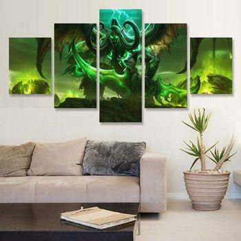 Demon Illidan Stormrage 5 Piece Prints Modular Poster Canvas Painting Art For Home Living Room Decoration Framework image