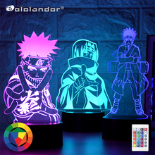 Kids Bedroom Nightlight 3d-Lamp Naruto Kakashi Hatake Gift Sasuke Team Itachi Uchiha