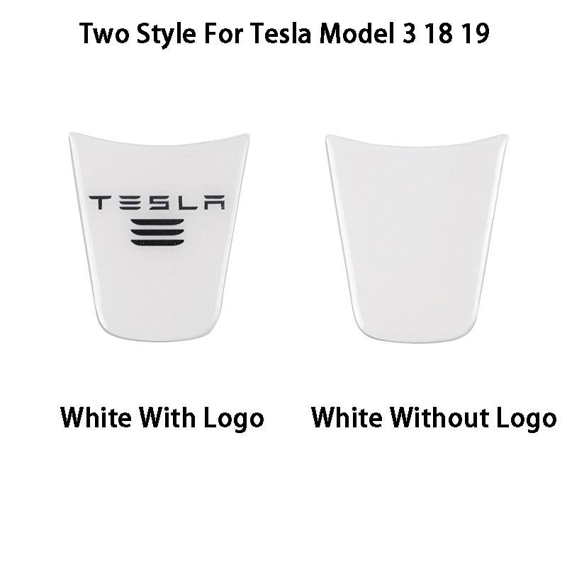 White Inner Steering Wheel Decor Sticker Cover Trim For Tesla Model 3 18 19