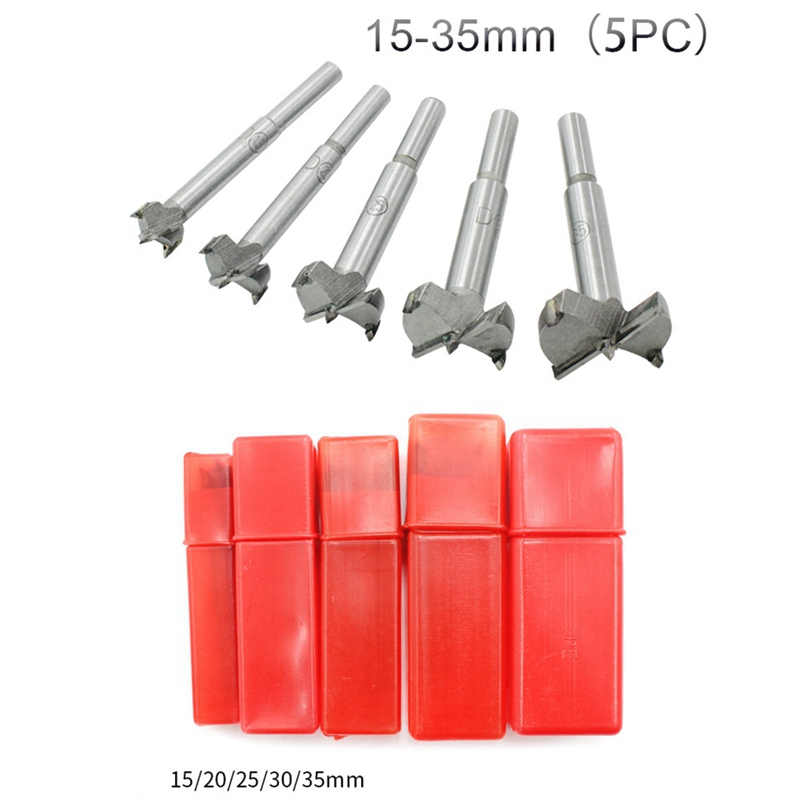 5Pcs Drill Bit Set 15-35mm High Strength Steel Flat Bit Drill Tip Set Useful Tool for Wood Work Lovers for DIY