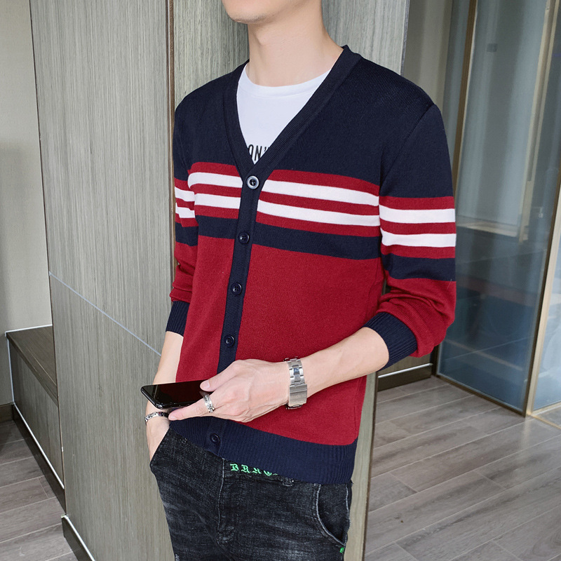 The New Man In The Fall Of 2019 Cardigan V-neck Sweater Sweater Youth Stripe Trend