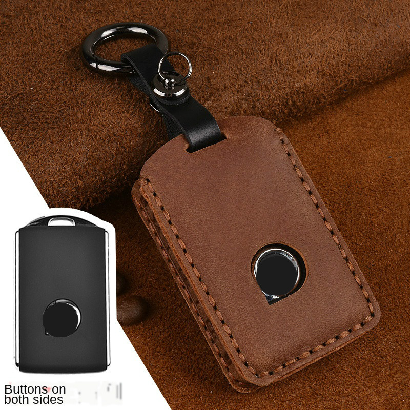 Leather Car Key Case For Volvo XC40 XC60 S90 XC90 2016-2018 V90 Keychain Bag Remote Fob Cover Protector Frame Accessories