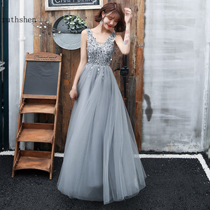 Image 1 - Gray Prom Dresses Long Vestidos De Gala Sequins Beaded Abiye Gece Elbisesi Backless Women Formal Party Dress Evening Gown 2019