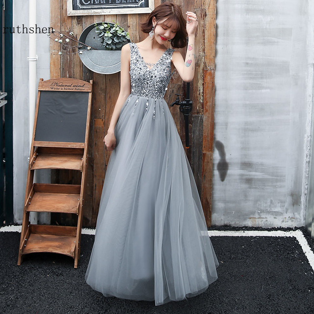 Gray Prom Dresses Long Vestidos De Gala Sequins Beaded Abiye Gece Elbisesi Backless Women Formal Party Dress Evening Gown 2019