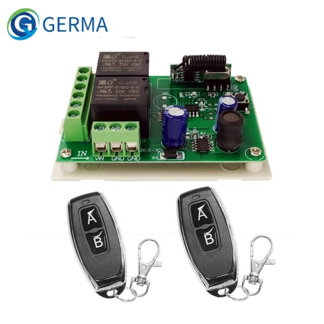 GERMA interruptor con Control remoto para control remoto, módulo de relé Universal de 24V, 2 retardo de 433MHz, 5 30V, 2 canales
