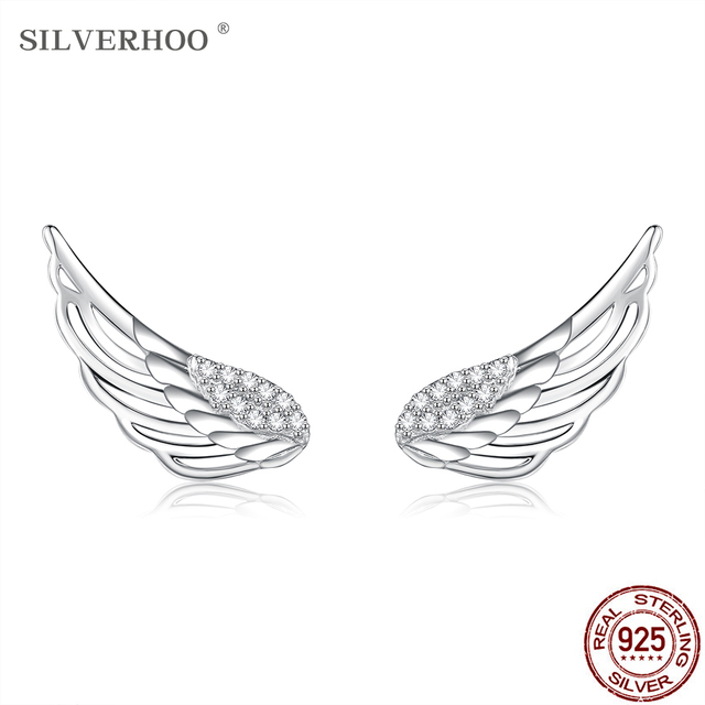 SILVERHOO 925 Sterling Silver Angel Wings Clear Cubic Zirconia Stud Earrings For Women Charm Tiny Earring Silver 925 Jewelry 1