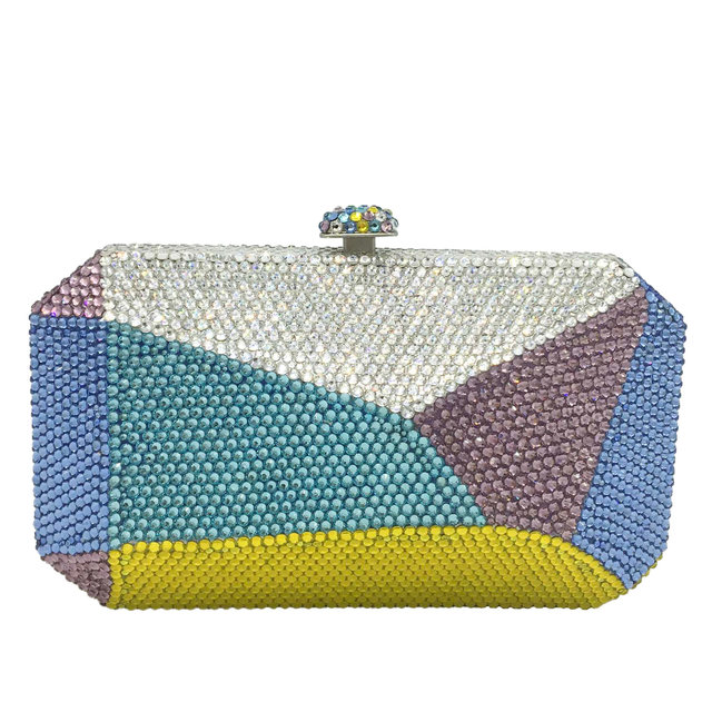 Multicolored Geometric Pattern Crystal Evening Clutch  1