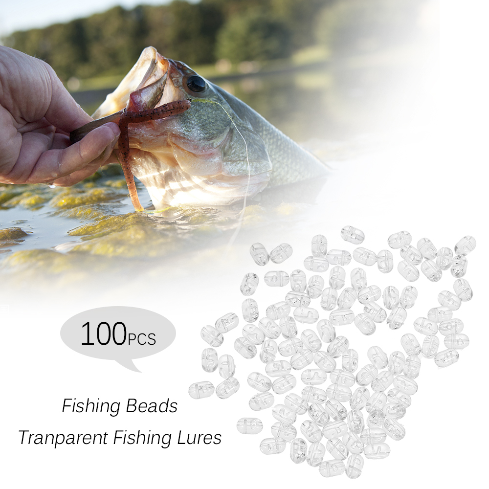 100PCS Fishing Beads Tranparent Double Cross Hole Beads Hard Clear Beads Sets Fishing Lures Fishing Accessories