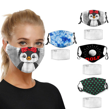 Unisex Penguin Print Outdoor Mouth Mask Washable Reuse Face Mask Mouth Muffle Mouth Breathable Mask With 2pcs Filter Mascarillas