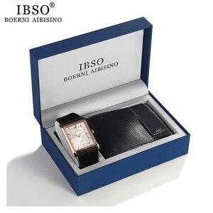 IBSO бренд 7 мм ультра-тонкие прямоугольные кварцевые наручные часы с циферблатом мужские часы с кошельком набор часы с ремешком из натуральн...