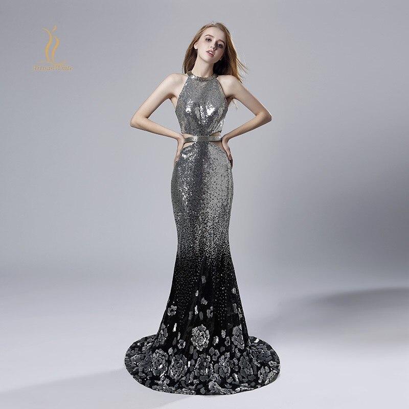 Сексуальное вечернее платье для выпускного вечера, длинное серебряное платье-Русалка с открытой спиной и открытой спиной, арабские платья