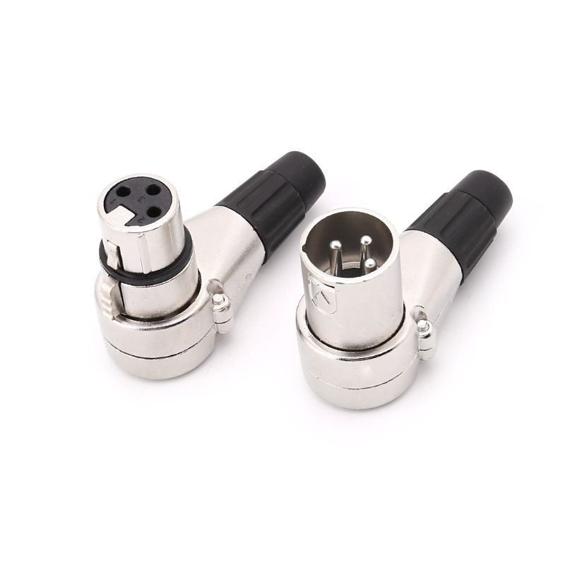 10pcs 3Pin XLR Male & Female  Jack Connector DMX Light Mic Microphone Cable 90 Degree Right Angle Plug Connectors
