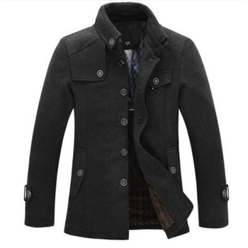 dropshipping New Brand Winter Men's Wool Jacket Casual Coat Mens Thicken Jackets Men Overcoat Black/Gray Plus Size M-XXXL