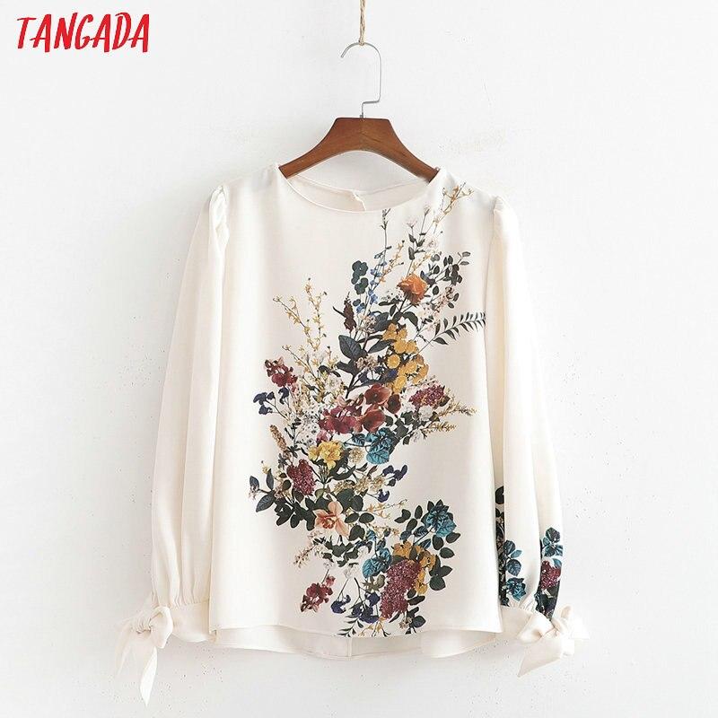 Tangada femmes doux beige imprimé blouse o cou lanterne manches chic plissé chemise blusas femininas 1D360