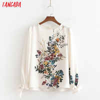 Tangada women sweet beige print blouse o neck lantern sleeve chic pleated shirt blusas femininas 1D360