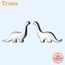 Trusta-pendientes de tuerca de dinosaurio pequeño para niñas y niñas, joyería de plata de ley 2019, regalo, ED54, 925
