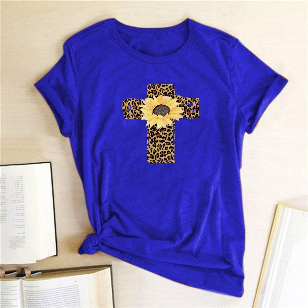 Easter T Shirt Women Leopard Cross Print Cute Plaid Graphic Harajuku Tees Funny T-shirt Female Summer Tshirts Tops Women 2020