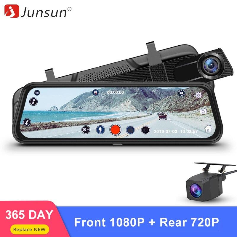 Junsun H15 HD 1080P Rear Front Camera Stream Mirror Car DVR Dash Cam 10 Touch Screen