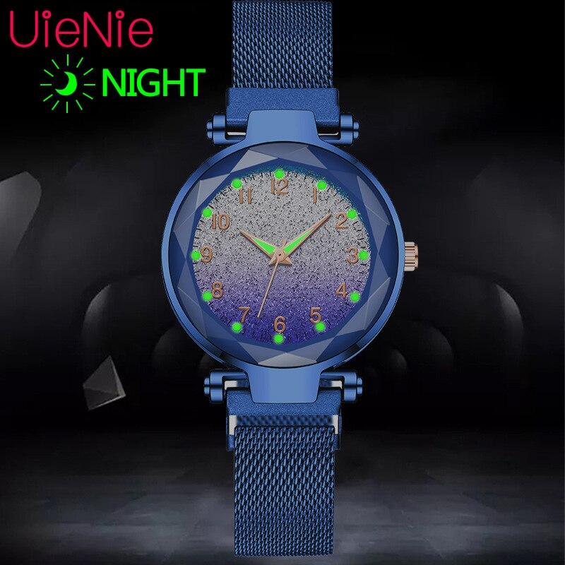 Women Watch Fashion Wild Luminous Starry Sky Numeral Milan Magnet Buckle Luxury Fashion Ladies Geometric Numeral Quartz Watch
