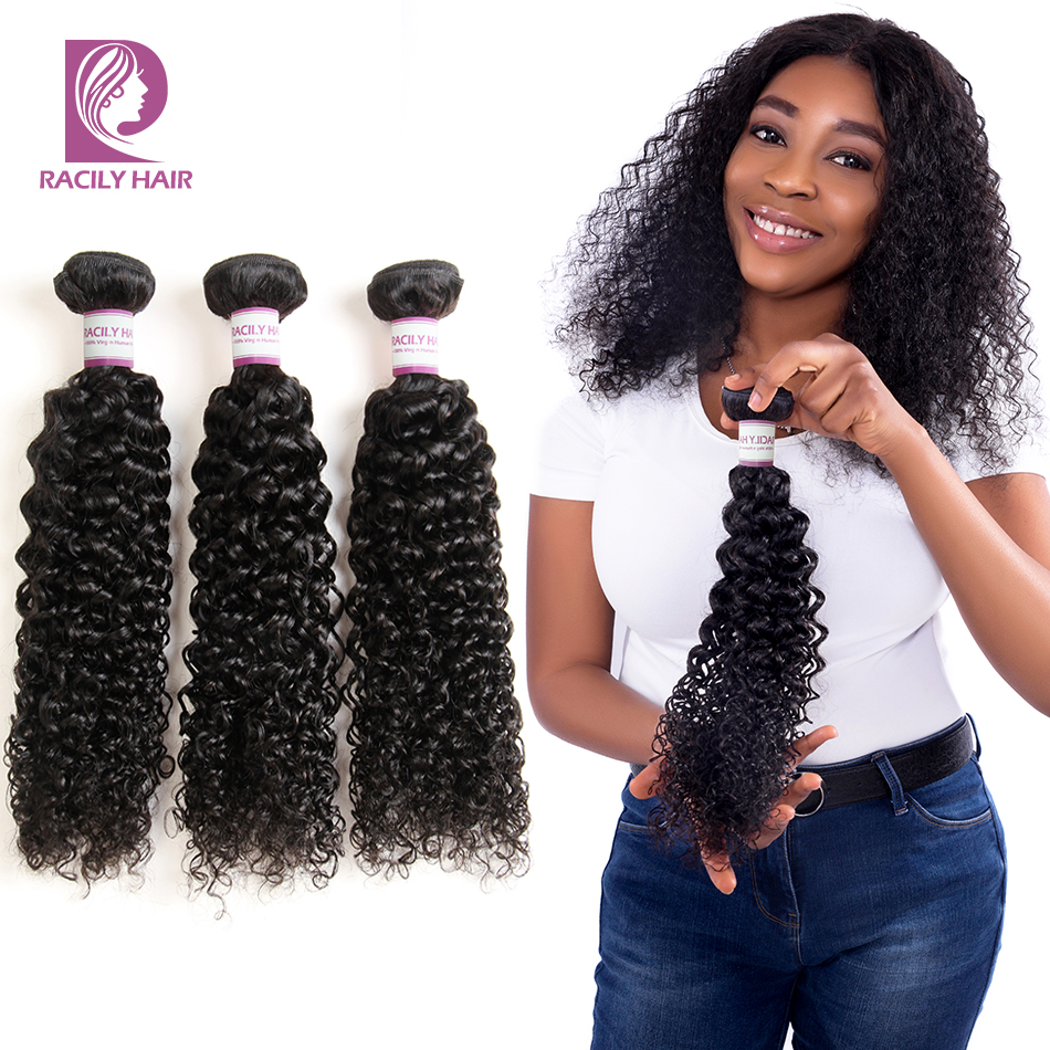 Racily Hair 1/3/4 Pcs Brazilian Kinky Curly Hair Bundles Human Hair Extensions Natural Black Remy Hair Weave 8-28 Inches Bundles