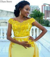 Женское атласное платье русалка желтое вечернее с аппликацией
