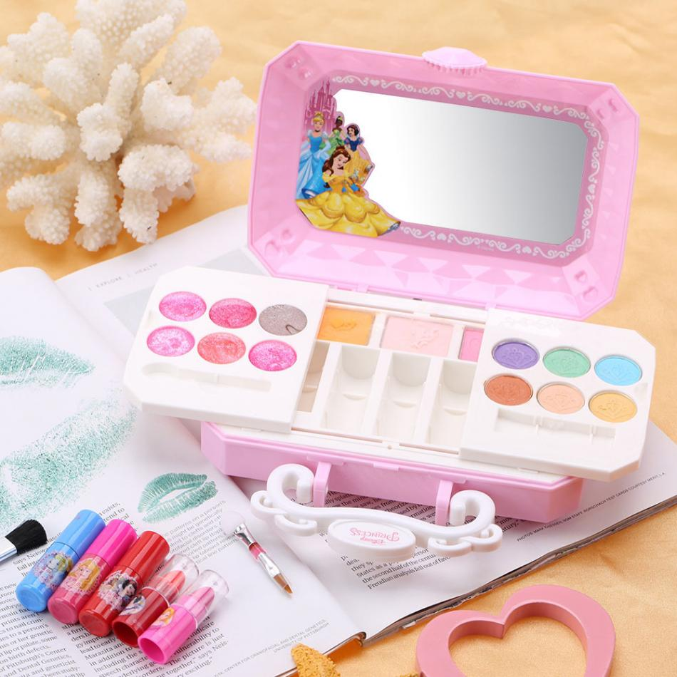 Disney girls blue Frozen snow princess Makeup toys with Box Nail polish Eyeshadow Blush Play Beauty Fashion Toys