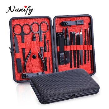 Pinzas de tijera de pedicura negra Nunify, Set profesional de manicura, cortaúñas de acero al carbono, pedicura de dedos del pie, conjunto de herramientas para manicura, Kits